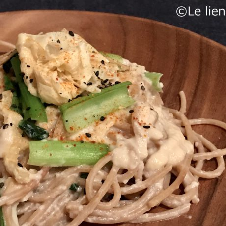 酒粕ホワイトソースの小松菜スパゲッティ